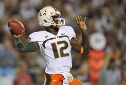 Miami sophomore QB Jacory Harris led the Canes over Florida State, passing for 386 yards in the 38-34 victory.