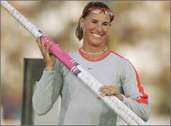 Stacy Dragila prepares for the U.S. Olympic track and field trials in 2004.