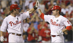 The Philadelphia Phillies have four 30-homer guys, including Chase Utley, right, and Jayson Werth. Utley hit the 30 plateau on Tuesday against the Washington Nationals.