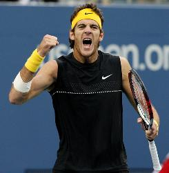 Juan Martin Del Potro of Argentina enjoys the moment Thursday during his victory against Marin Cilic of Croatia in the quarterfinals of the U.S. Open in New York.