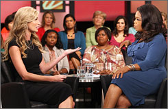 ESPN reporter Erin Andrews appeared on The Oprah Winfrey Show on Friday in a segment taped Aug. 27. Andrews told Winfrey she initially laughed off the possibility of a secretly taped nude video of her circulating the Internet.