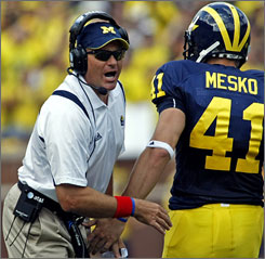 Michigan coach Rich Rodriguez will be trying to beat Notre Dame after losing to the Irish in his first season last year.