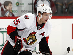 Dany Heatley had 39 goals and 33 assists last season for the Senators.