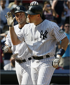 "Derek Jeter, left, is having one of his best all-around seasons, while Mark Teixeira has been a ""cross between Paul O'Neill and Tino Martinez."""