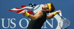 Juan Martin del Potro of Argentina winds up to serve in his straight-sets victory Sunday against Rafael Nadal in the U.S. Open semifinals. Del Potro will play in his first Grand Slam final on Monday.