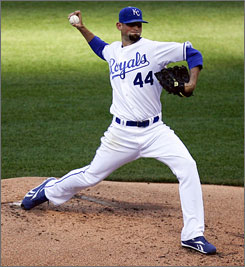 Starter Luke Hochevar, the No. 1 overall draft pick in 2006 out of Tennessee, had a dominating performance July 25 when he struck out 13 against the Rangers.
