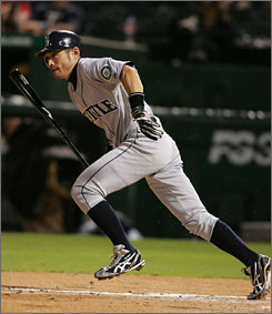Mariners outfielder Ichiro Suzuki records his 200th hit for the ninth straight season.