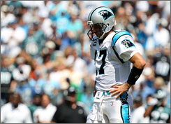 Panthers QB Jake Delhomme has committed 11 turnovers in the past two games.