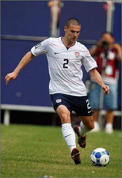 Heath Pearce plays for Team USA, which caused problems with Hansa Rostock, his former team in Germany.