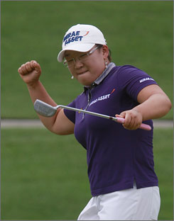 Jiyai Shin celebrates her birdie putt on the second playoff hole in her win at the P&G Beauty NW Arkansas Open last week.