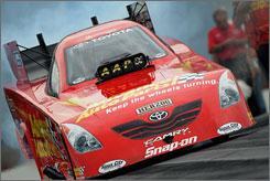 Cruz Pedregon drives his Toyota during a qualifying run at the Carolina Nationals on Saturday.
