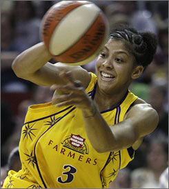 Candace Parker, trying to save an errant pass, scored 22 points to lift Los Angeles to a 75-64 win over Seattle as the Sparks advanced to the Western Conference finals.