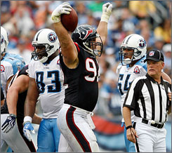 Jeff Zgonina's fumble recovery sealed the win for the Texans late in the fourth quarter.