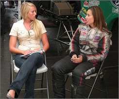 Ashley Force Hood conducts an interview with Meghan Stanton from syndicated TV show 3 Wide Life, shortly before getting medical treatment for food poisoning.