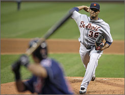 Tigers starter Edwin Jackson pitched seven shutout innings and remained unbeaten against the Indians this season.