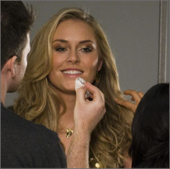 American skier Lindsey Vonn, the winner of the last two World Cup overall titles, takes part in a photo shoot for an ad campaign for Procter & Gamble.