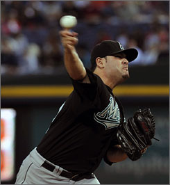 Marlins starter Ricky Nolasco is one of four pitchers to srike out nine or more consecutive batters.