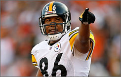 Steelers receiver Hines Ward was just the fifth receiver to surpass 10,000 receiving yards with one team.