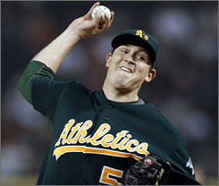 Trevor Cahill, 21, has 10 wins for a young Athletics starting rotation.