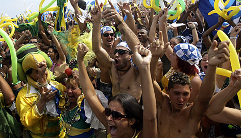 Residents of Rio celebrate the IOC's announcement that the city will host the 2016 Olympic Games.