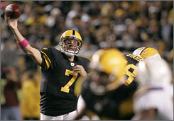 Steelers quarterback Ben Roethlisberger fires a pass during Pittsburgh's victory over San Diego. The Steelers jumped out to a 28-0 lead, but had to hang on for a 38-28 triumph.