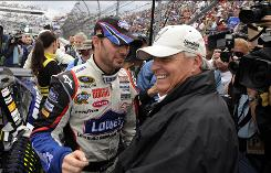 "Team owner Rick Hendrick, right, with driver Jimmie Johnson in March, says nothing is Hollywood in the documentary ""Together: The Hendrick Motorsports Story."""