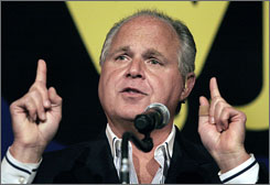 Radio talk show host Rush Limbaugh, shown a speaking in Michigan two years ago, would like to buy his home state team, the St. Louis Rams.