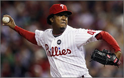 Recently acquired Pedro Martinez is in the mix to start Game 3 for the Phillies. He's pitched just once since Sept. 20.