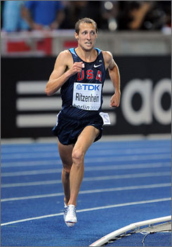 Dathan Ritzenhein, running to a sixth-place finish in the 10,000 meters at the IAAF World Championships in Berlin on Aug. 17, looks to set a personal best in Sunday's World Half Marathon Championships.