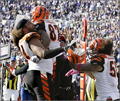 Bengals players celebrate as they clinched a win in Baltimore on Sunday that gave them sole possession of first place in the AFc North.