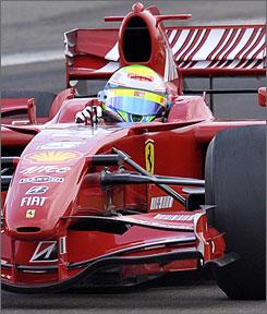Brazilian driver Felipe Massa steers a Ferrari F2007 in his return to the Italian team's Fiorano test track.
