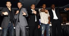 From left: Carl Froch, Mikkel Kessler, Arthur Abraham, Andre Dirrell and Jermain Taylor at the July press conference at Madison Square Garden announcing the Super Six World Boxing Classic.
