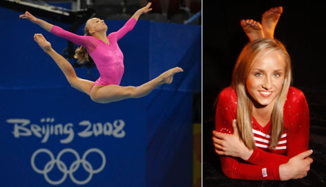 Nastia Liukin competes in the beam during the women's all-around final at the Beijing Olympics.