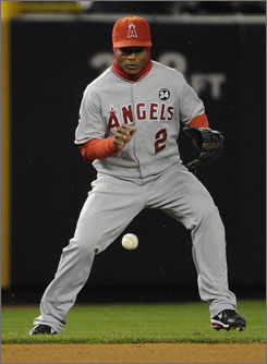 Angels shortstop Erick Aybar watched a Hideki Matsui pop up drop right in front of him in the first inning. The Yankees scored a run on the play.