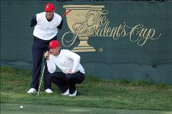 Stewart Cink, left, who won the British Open this year, and Lucas Glover, winner of the U.S. Open, helped the USA win the Presidents Cup earlier this month. Now, they're back in action at the Grand Slam of Golf in Bermuda. Grand prize for the winner is $600,000.