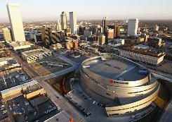 Tulsa, including the BOK Center in the foreground. According to an anonymous team official, the WNBA's Detroit Shock are moving to Tulsa. The official spoke on the condition of anonymity because he was not authorized to make the announcement.