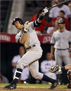 Yankees slugger Alex Rodriguez hits a fifth-inning home run Tuesday vs. the Angels, his fifth of the 2009 playoffs.