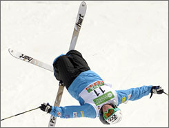"Patrick Deneen won the moguls world championship last March in Japan using this move, the ""Back X,"" to secure the title."