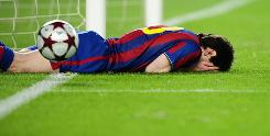 Barcelona's Lionel Messi shows his frustration in Tuesday's match.