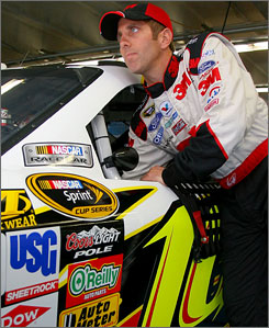 Greg Biffle gets ready for practice runs at Charlotte ahead of last Saturday night's 500-miler.