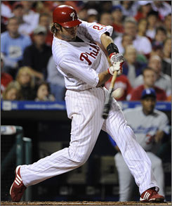 Right fielder Jayson Werth's three-run homer in the first inning, the first of two shots he hit Wednesday night, started the Phillies on their way to a Game 5 victory against the Dodgers.