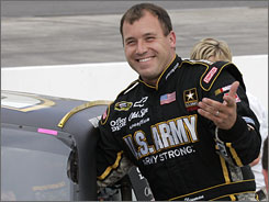 Ryan Newman is all smiles after turning the pole-winning lap at Martinsville Speedway.