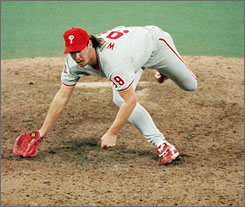 Phillies closer Mitch Williams came into the World Series after a 43-save regular season and a solid NLCS against the Braves, but he blew a save vs. the Blue Jays in Game 4 and later gave up a Series-ending homer to Joe Carter. Williams had six saves in 1994 and none after that.