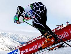 Ted Ligety crosses the start line for a giant slalom run on the Reteenbach Glacier.