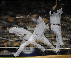 Yankees pitcher Andy Pettitte got his record 16th postseason win Sunday. It was his fifth series-clinching victory.
