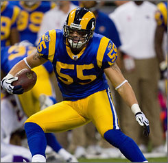 Rams LB James Laurinaitis leads all rookies with 40 solo tackles.