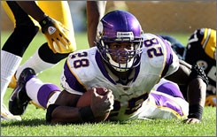 Adrian Peterson has 687 yards rushing and eight rushing touchdowns this season.