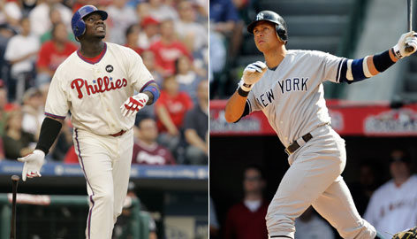 Ryan Howard, left, hit 45 home runs this season, sparking a Phillies attack that topped the National League in homers (224) and runs (820). Alex Rodriguez, who led a Yankees lineup that hit a big-league high 244 home runs this year, has five homers and 12 RBI this postseason.