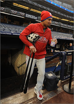 The Phillies' Shane Victorino followed up a solid 2009 regular season with a huge postseason, hitting .361 with three homers and three steals.