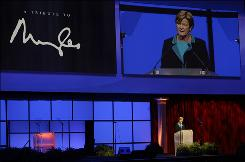 Tennessee women's basketball coach Pat Summitt paid tribute to former NCAA president Myles Brand at a memorial Wednesday in Indianapolis. Brand died Sept. 16 of pancreatic cancer at age 67.